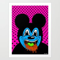 MOUSE SICK.  (On Pink). Art Print