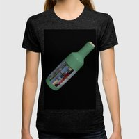 Ship in a Bottle on Black Womens Fitted Tee Tri-Black SMALL