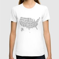 United States Of Hand Le… Womens Fitted Tee White SMALL