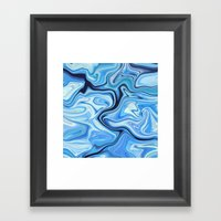 Marbled Frenzy Electric Blue Framed Art Print