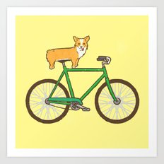 Corgi on a bike Art Print