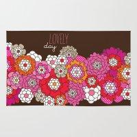 Lovely day - retro flowers illustration print Rug