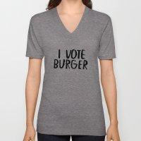 I Vote Burger Unisex V-Neck