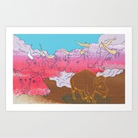 WHERE THE BUFFALO ROAM? Art Print