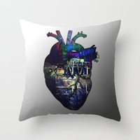 Denver in a Glitched Heart Throw Pillow