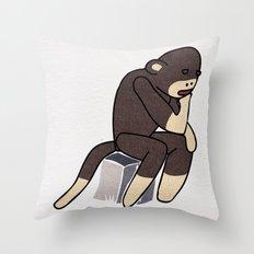 Sock Monkey Thinking Throw Pillow