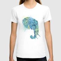 Elephant Head II Womens Fitted Tee White SMALL
