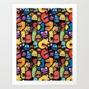 Monster Faces Pattern Art Print