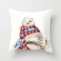 Winking Arctic Owl in Scarf Throw Pillow