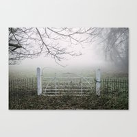 White field gate beside a field in fog. Norfolk, UK. Canvas Print