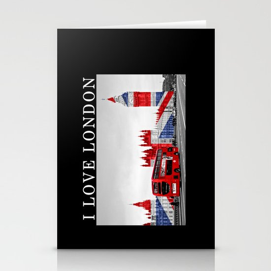 Red London Bus and Big Ben Stationery Card