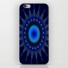 Blue kaleidoscope fractal star iPhone & iPod Skin