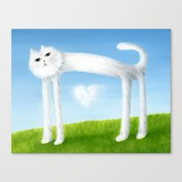 Skinny Cat With Cloud Heart Canvas Print