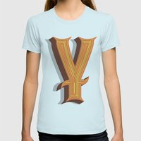 Letter Y Womens Fitted Tee Light Blue SMALL
