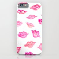 iPhone & iPod Case featuring Lips Watercolor Pattern by MADE BY GIRL