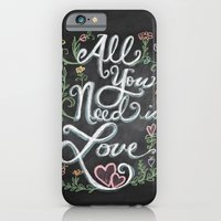 iPhone & iPod Case featuring All You Need is Love Chalkboard Art by Elizabeth Caldwell