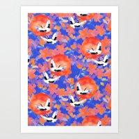 Japanese Garden: Cranes, Sun and Blossoms LT Art Print