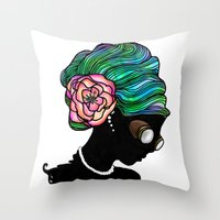 Goggley Girl Throw Pillow