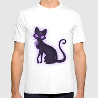 Purple Eyed Cat Mens Fitted Tee White SMALL