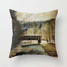 Halls Mills Covered Bridge Throw Pillow