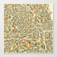 Canvas Print featuring Chicago Map by Jazzberry Blue
