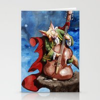 Feline counter bassist Stationery Cards