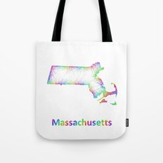 Rainbow Massachusetts map Tote Bag