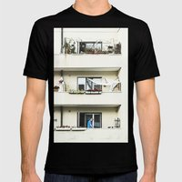 Looking at the neighbor. Mens Fitted Tee Black SMALL