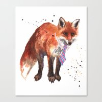 Fox Painting, Watercolor… Canvas Print
