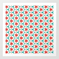 Retro Red Stars Pattern Art Print