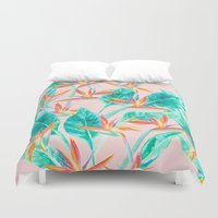 Birds of Paradise Blush Duvet Cover