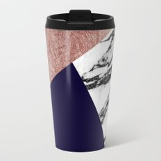 Modern Marble Rose Gold and Navy Blue Tricut Geo Travel Mug