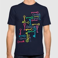 Colorful Vintage Keys Mens Fitted Tee Navy SMALL