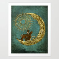 moon Art Prints featuring Moon Travel by Eric Fan