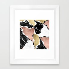 Modern white black marble rose gold foil color block handdrawn geometric lines Framed Art Print
