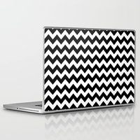 chevron Laptop & iPad Skins featuring Chevron (Black/White) by 10813 Apparel