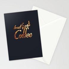 Black grey coffee stain mug wall art print Stationery Cards