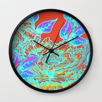 Peony Blooms And Leaves … Wall Clock