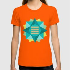 Abstract Lotus Flower - Yoga Print Womens Fitted Tee Orange SMALL