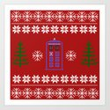 TARDIS CHRISTMAS SWEATER Art Print