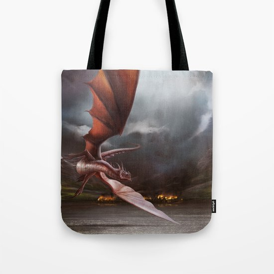Smaug Burns Lake-Town Tote Bag