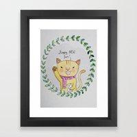 Happy Mew Year Framed Art Print