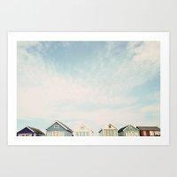Beach Hut Sky  Art Print