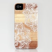 iPhone 4s & iPhone 4 Cases featuring White doodles on blonde wood - neutral / nude colors by micklyn
