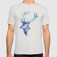 Blue Antlers Mens Fitted Tee Silver SMALL