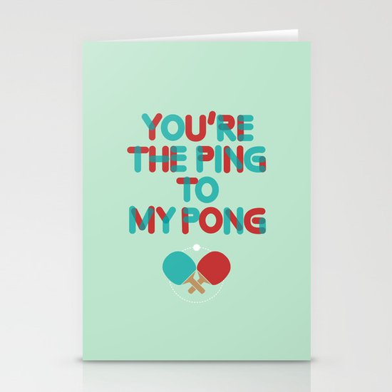 Love is like ping pong Stationery Card