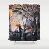 Autumn rain - watercolor Shower Curtain