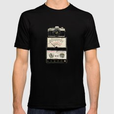 Analogue stack Black Mens Fitted Tee SMALL