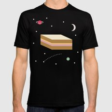 Ham & Cheese in Space SMALL Mens Fitted Tee Black