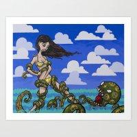 Croctopus Attack Art Print